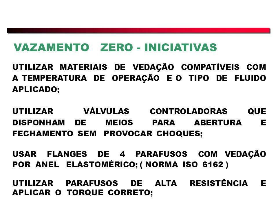 UTILIZAR MATERIAIS DE VEDAÇÃO COMPATÍVEIS COM A TEMPERATURA DE OPERAÇÃO E O TIPO DE FLUIDO APLICADO; UTILIZAR VÁLVULAS CONTROLADORAS QUE DISPONHAM DE MEIOS PARA ABERTURA E FECHAMENTO SEM PROVOCAR CHOQUES; USAR FLANGES DE 4 PARAFUSOS COM VEDAÇÃO POR ANEL ELASTOMÉRICO; ( NORMA ISO 6162 ) UTILIZAR PARAFUSOS DE ALTA RESISTÊNCIA E APLICAR O TORQUE CORRETO; VAZAMENTO ZERO - INICIATIVAS