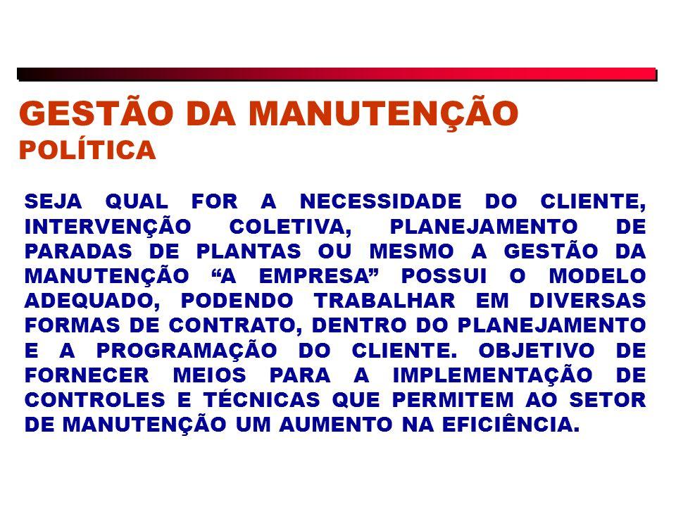 GESTÃO DA MANUTENÇÃO POLÍTICA SEJA QUAL FOR A NECESSIDADE DO CLIENTE, INTERVENÇÃO COLETIVA, PLANEJAMENTO DE PARADAS DE PLANTAS OU MESMO A GESTÃO DA MANUTENÇÃO A EMPRESA POSSUI O MODELO ADEQUADO, PODENDO TRABALHAR EM DIVERSAS FORMAS DE CONTRATO, DENTRO DO PLANEJAMENTO E A PROGRAMAÇÃO DO CLIENTE.