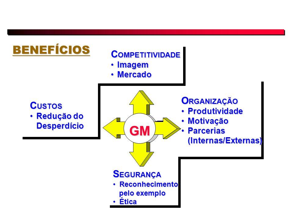 BENEFÍCIOS GM C OMPETITIVIDADE ImagemImagem MercadoMercado C USTOS Redução do DesperdícioRedução do Desperdício S EGURANÇA ReconhecimentoReconhecimento pelo exemplo pelo exemplo ÉticaÉtica O RGANIZAÇÃO ProdutividadeProdutividade MotivaçãoMotivação Parcerias (Internas/Externas)Parcerias (Internas/Externas)