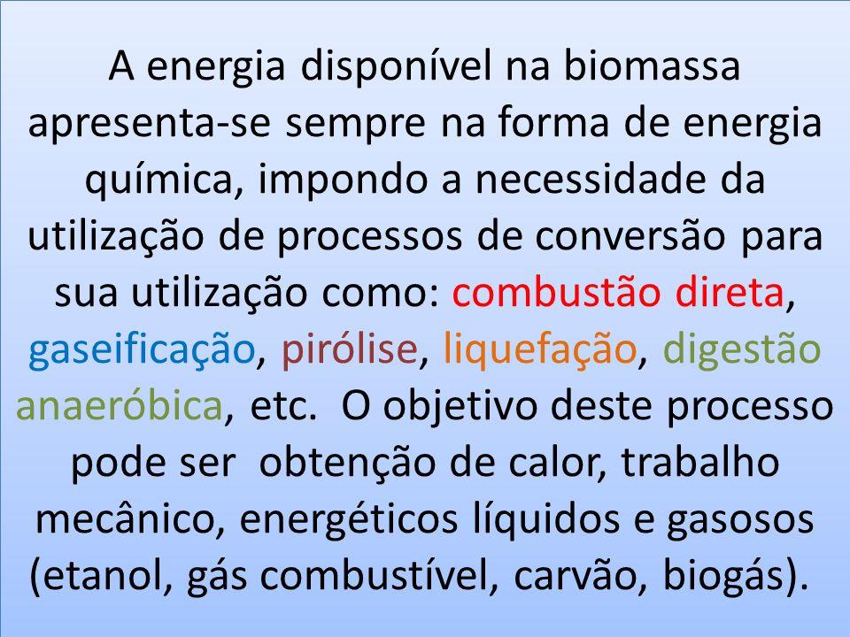 A energia disponível na biomassa apresenta-se sempre na forma de energia química, impondo a necessidade da utilização de processos de conversão para s