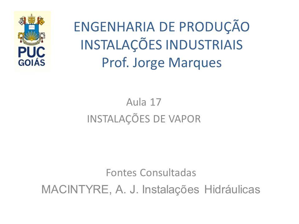 ENGENHARIA DE PRODUÇÃO INSTALAÇÕES INDUSTRIAIS Prof.