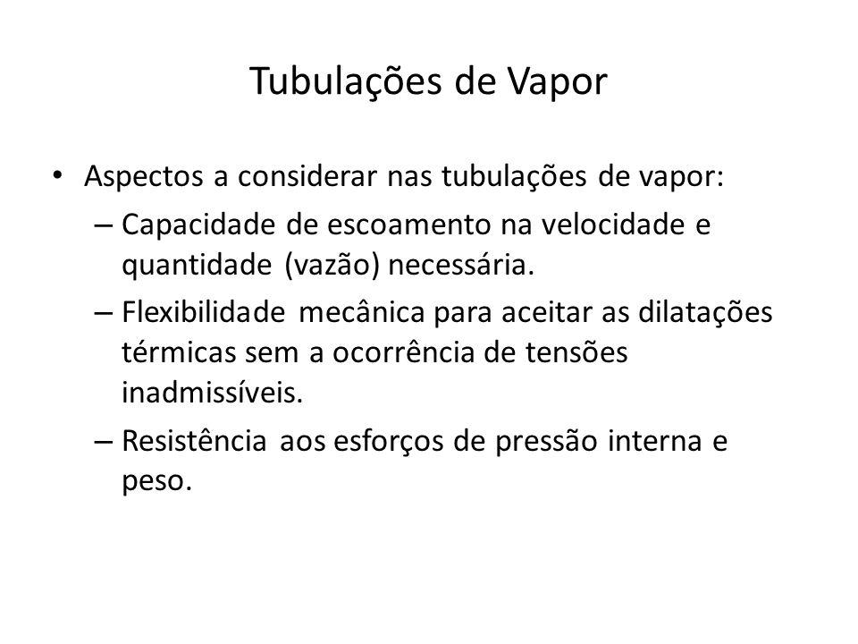 Tubulações de Vapor Aspectos a considerar nas tubulações de vapor: – Capacidade de escoamento na velocidade e quantidade (vazão) necessária.