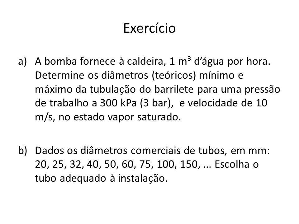 Exercício a)A bomba fornece à caldeira, 1 m³ dágua por hora.