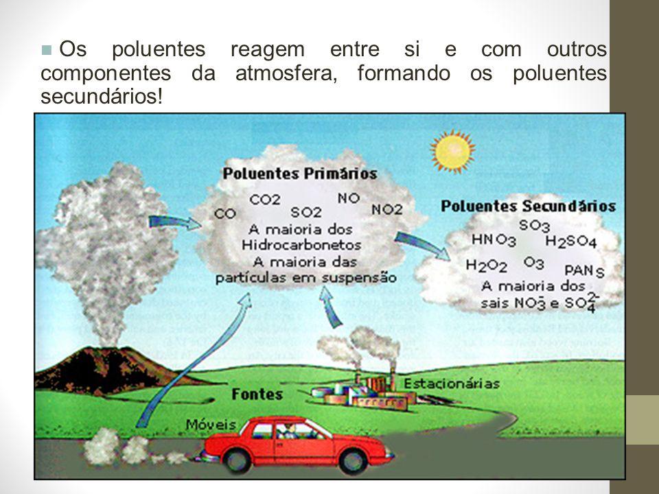 Os poluentes reagem entre si e com outros componentes da atmosfera, formando os poluentes secundários!