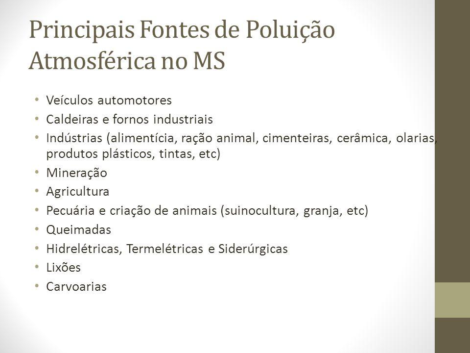 Principais Fontes de Poluição Atmosférica no MS Veículos automotores Caldeiras e fornos industriais Indústrias (alimentícia, ração animal, cimenteiras