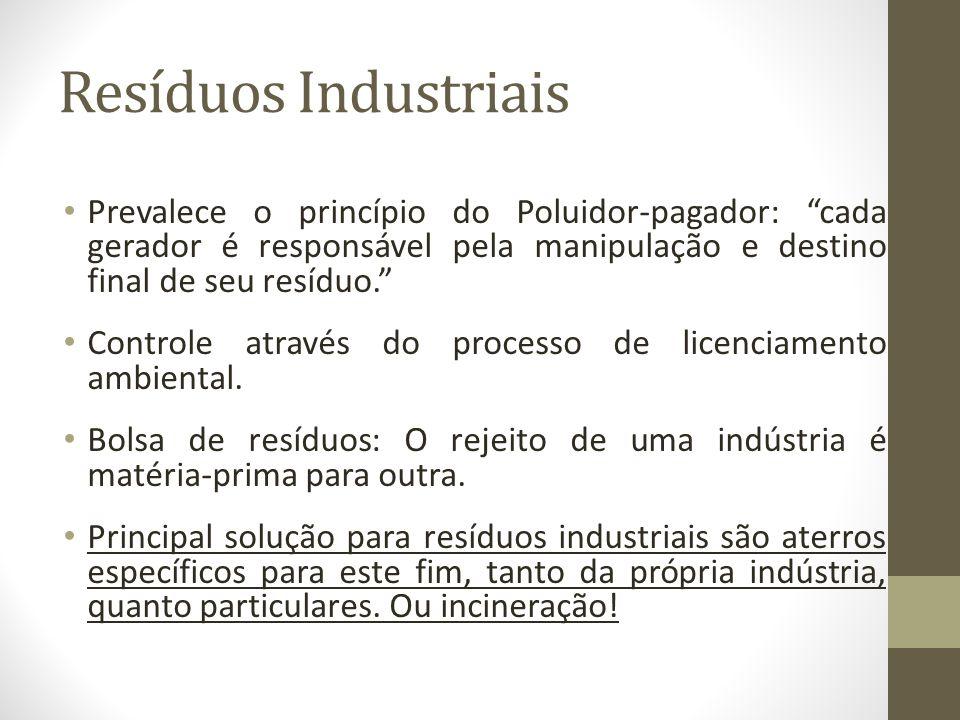 Resíduos Industriais Prevalece o princípio do Poluidor-pagador: cada gerador é responsável pela manipulação e destino final de seu resíduo. Controle a
