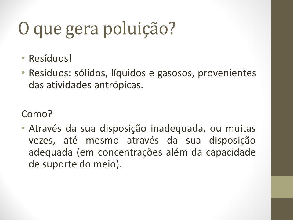 O que gera poluição? Resíduos! Resíduos: sólidos, líquidos e gasosos, provenientes das atividades antrópicas. Como? Através da sua disposição inadequa
