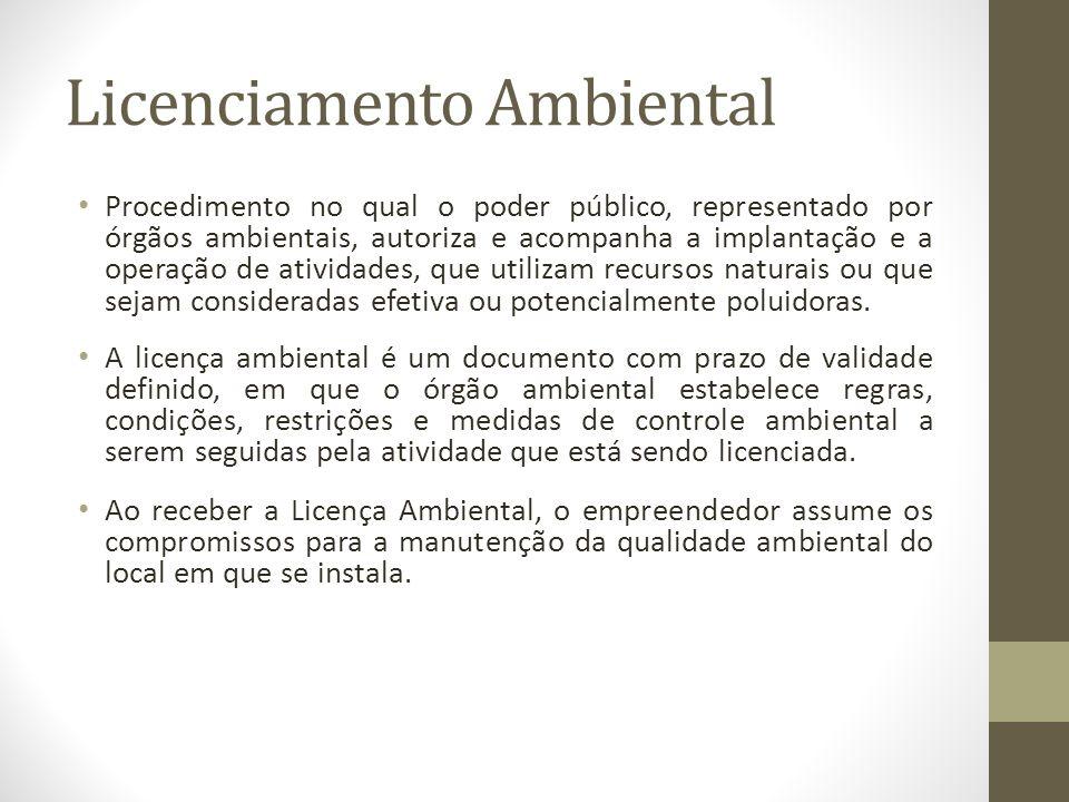 Licenciamento Ambiental Procedimento no qual o poder público, representado por órgãos ambientais, autoriza e acompanha a implantação e a operação de a