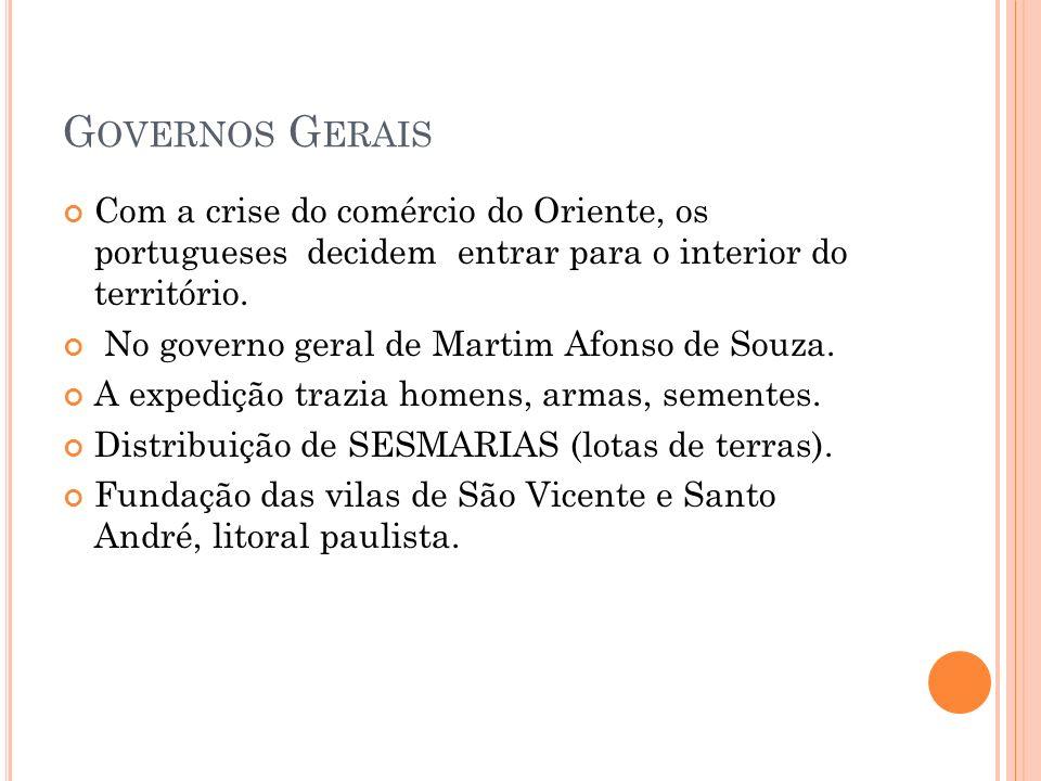 G OVERNOS G ERAIS Com a crise do comércio do Oriente, os portugueses decidem entrar para o interior do território. No governo geral de Martim Afonso d