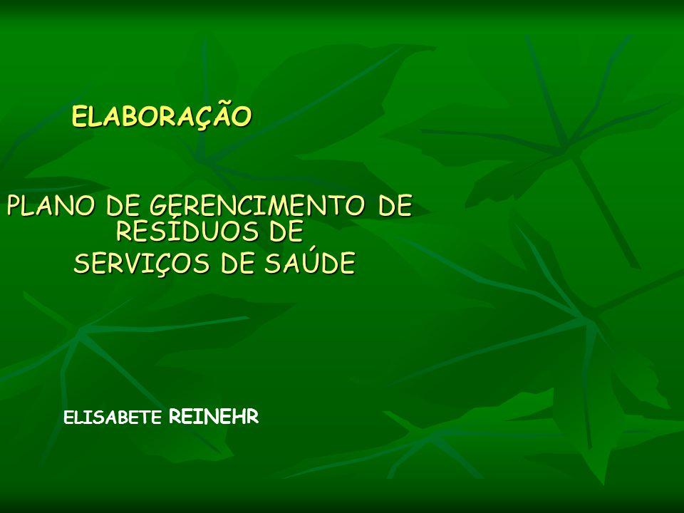 ELABORAÇÃO PLANO DE GERENCIMENTO DE RESÍDUOS DE SERVIÇOS DE SAÚDE SERVIÇOS DE SAÚDE ELISABETE REINEHR