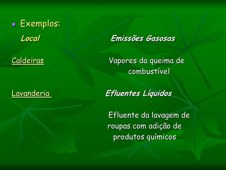 Exemplos: Exemplos: Local Emissões Gasosas Local Emissões Gasosas Caldeiras Vapores da queima de combustível combustível Lavanderia Efluentes Líquidos