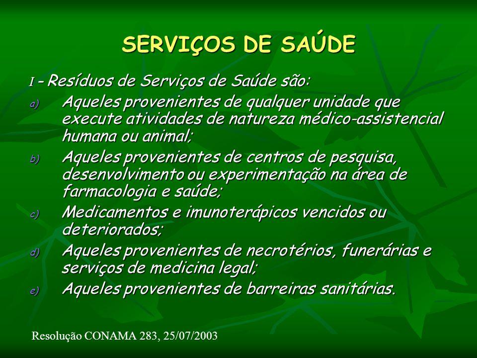 SERVIÇOS DE SAÚDE I – Resíduos de Serviços de Saúde são: a) Aqueles provenientes de qualquer unidade que execute atividades de natureza médico-assiste