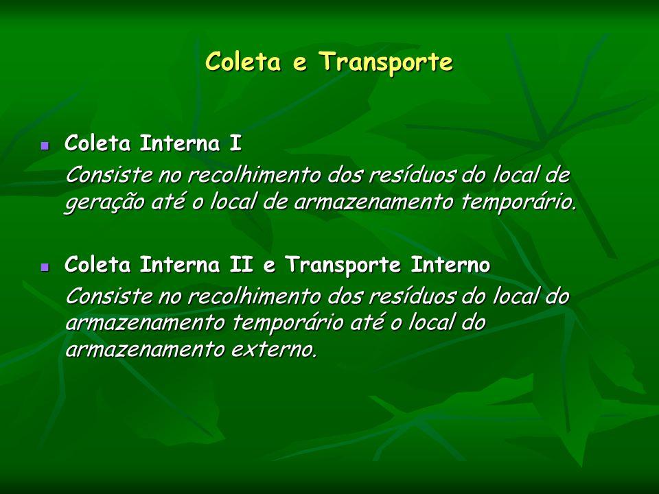 Coleta e Transporte Coleta Interna I Coleta Interna I Consiste no recolhimento dos resíduos do local de geração até o local de armazenamento temporári