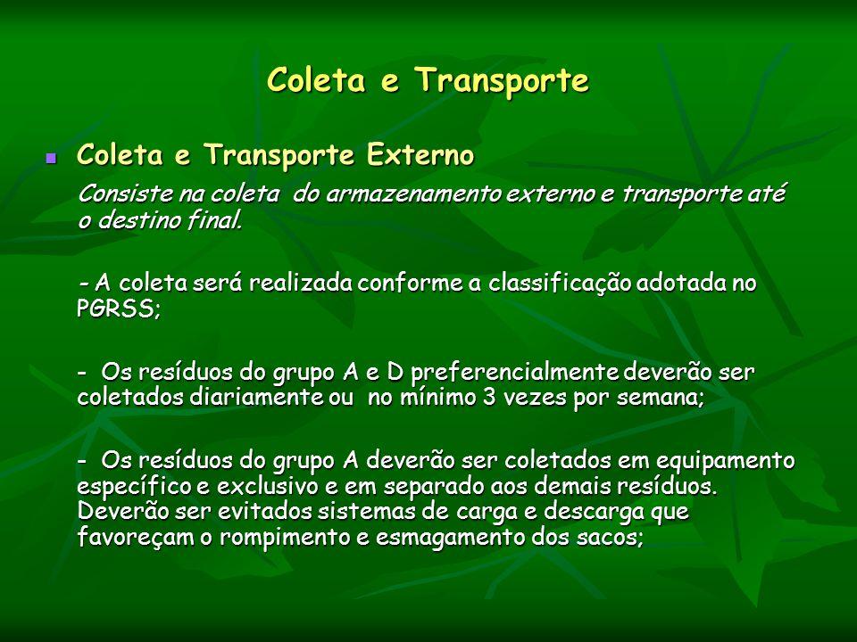 Coleta e Transporte Coleta e Transporte Externo Coleta e Transporte Externo Consiste na coleta do armazenamento externo e transporte até o destino fin