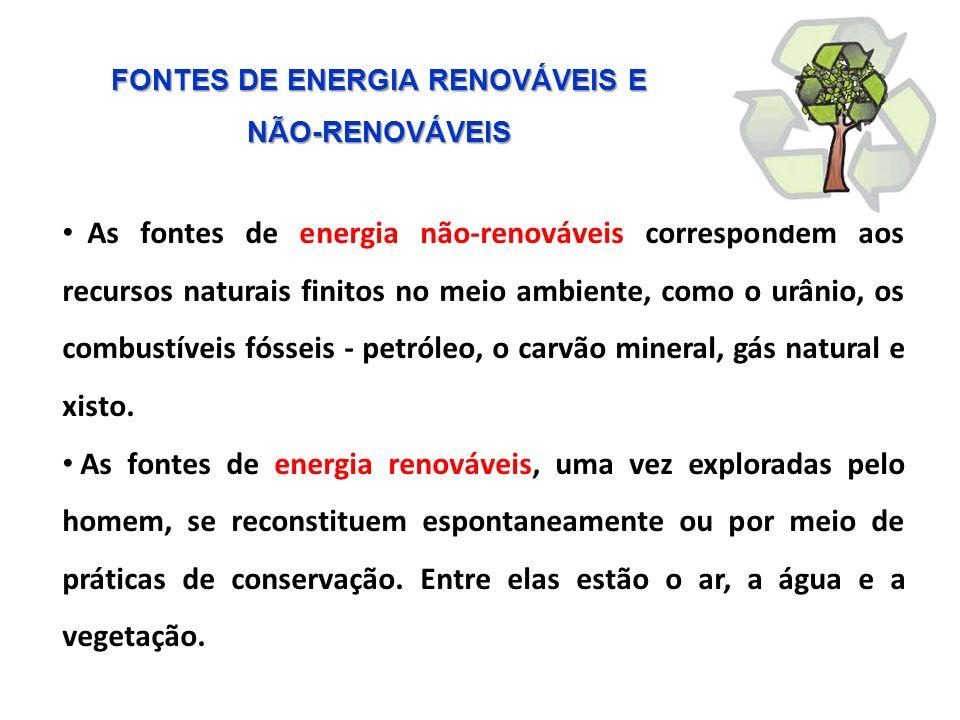FONTES DE ENERGIA RENOVÁVEIS E NÃO-RENOVÁVEIS As fontes de energia não-renováveis correspondem aos recursos naturais finitos no meio ambiente, como o urânio, os combustíveis fósseis - petróleo, o carvão mineral, gás natural e xisto.