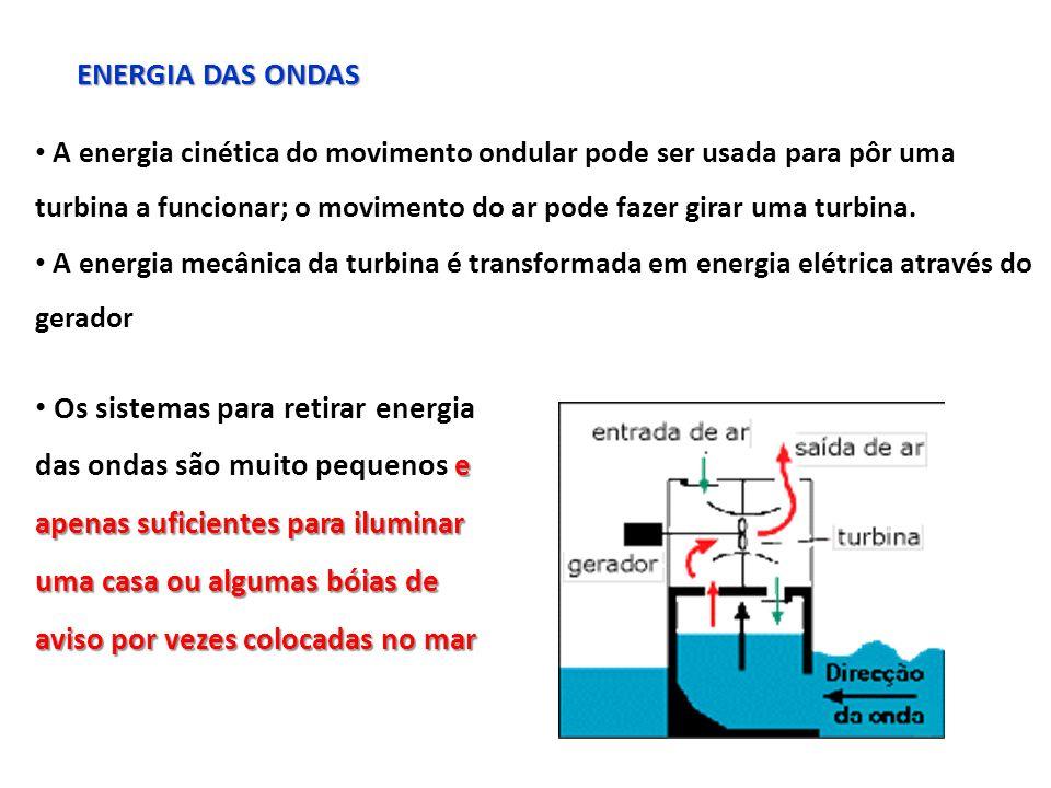 ENERGIA DAS ONDAS A energia cinética do movimento ondular pode ser usada para pôr uma turbina a funcionar; o movimento do ar pode fazer girar uma turbina.