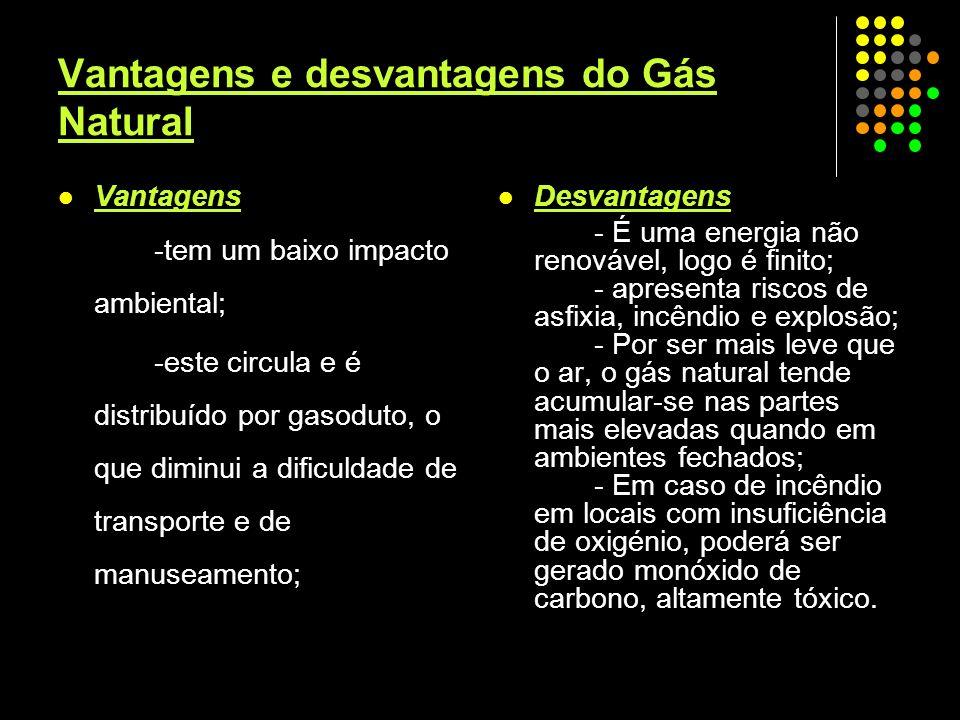 Vantagens e desvantagens do Gás Natural Vantagens -tem um baixo impacto ambiental; -este circula e é distribuído por gasoduto, o que diminui a dificul