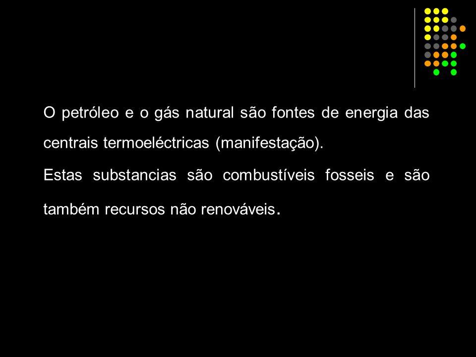 O petróleo e o gás natural são fontes de energia das centrais termoeléctricas (manifestação). Estas substancias são combustíveis fosseis e são também
