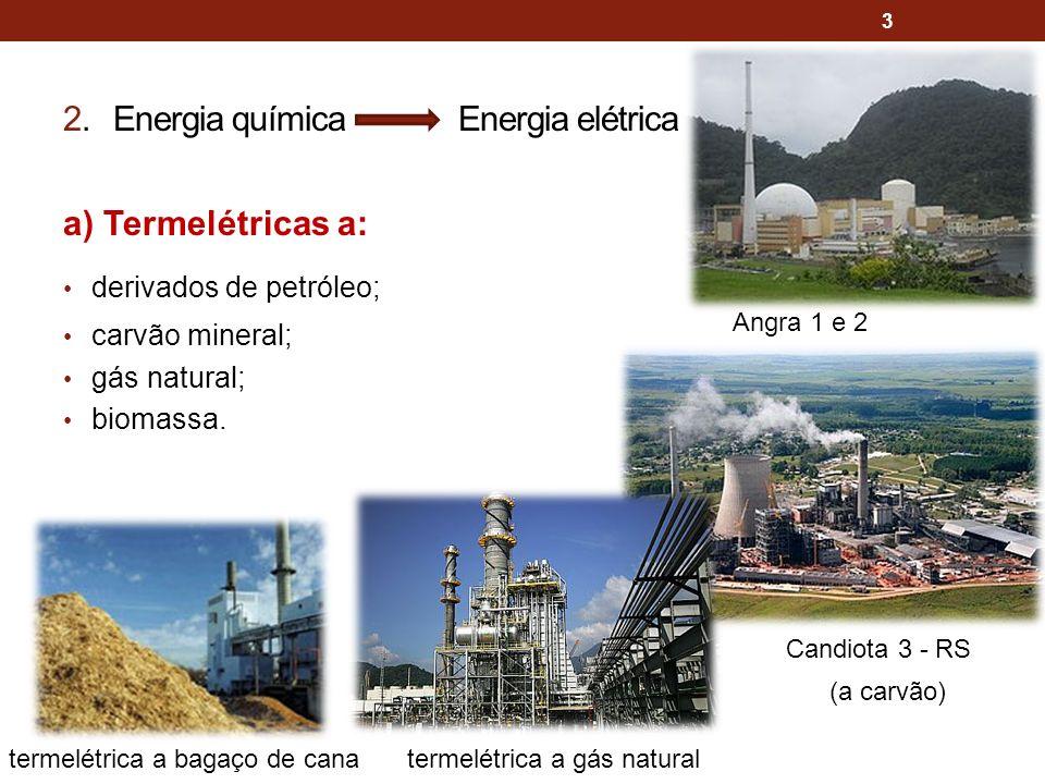 2. Energia química Energia elétrica a) Termelétricas a: derivados de petróleo; carvão mineral; gás natural; biomassa. 3 Angra 1 e 2 Candiota 3 - RS te
