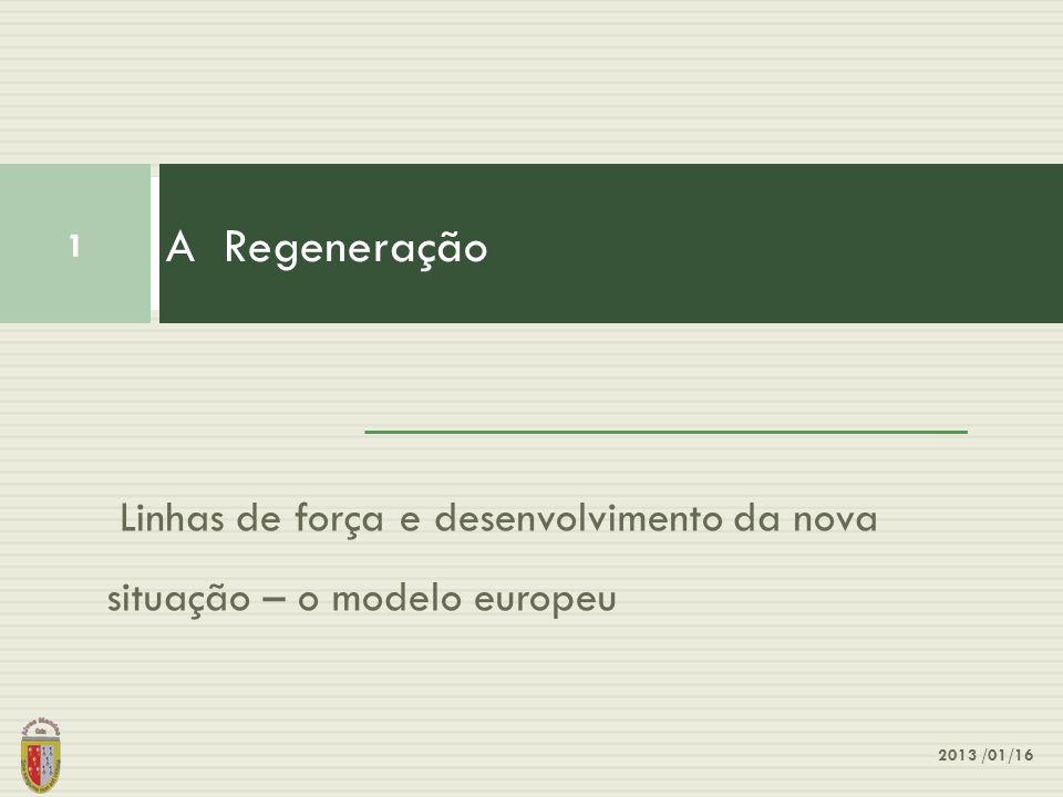Linhas de força e desenvolvimento da nova situação – o modelo europeu A Regeneração 1 2013 /01/16