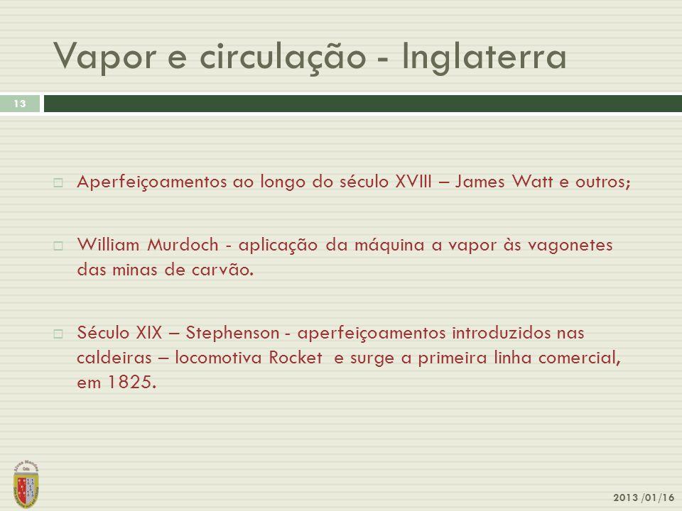 Vapor e circulação - Inglaterra 2013 /01/16 13 Aperfeiçoamentos ao longo do século XVIII – James Watt e outros; William Murdoch - aplicação da máquina
