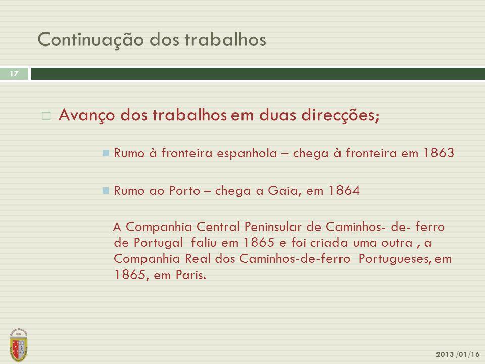 Continuação dos trabalhos 2013 /01/16 17 Avanço dos trabalhos em duas direcções; Rumo à fronteira espanhola – chega à fronteira em 1863 Rumo ao Porto