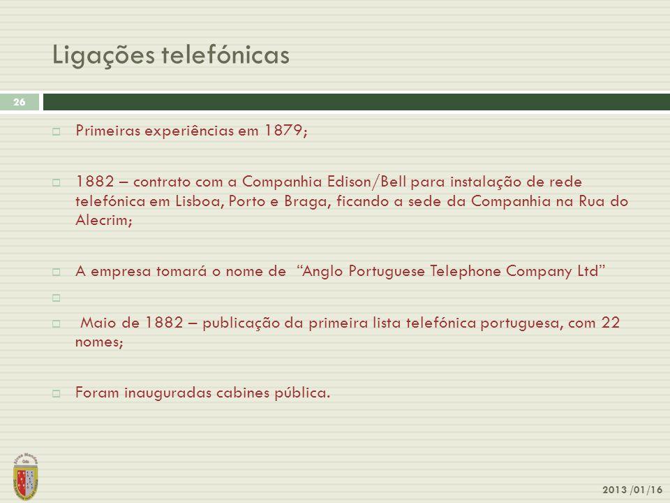 Ligações telefónicas 2013 /01/16 26 Primeiras experiências em 1879; 1882 – contrato com a Companhia Edison/Bell para instalação de rede telefónica em