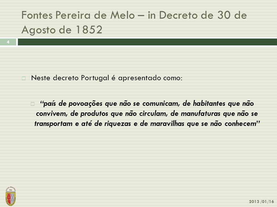 Fontes Pereira de Melo – in Decreto de 30 de Agosto de 1852 2013 /01/16 4 Neste decreto Portugal é apresentado como: país de povoações que não se comu