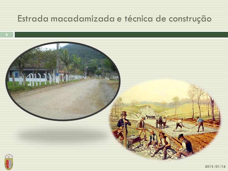 Estrada macadamizada e técnica de construção 2013 /01/16 8
