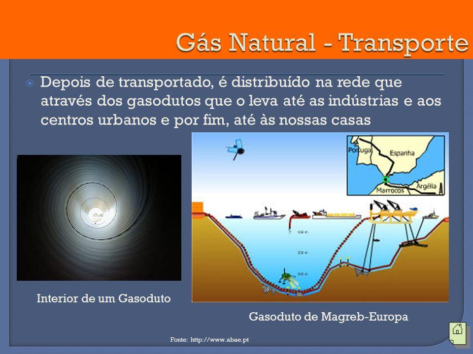 Depois de transportado, é distribuído na rede que através dos gasodutos que o leva até as indústrias e aos centros urbanos e por fim, até às nossas ca
