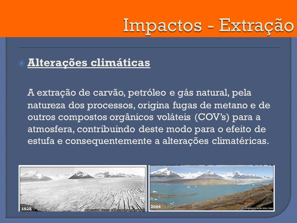 Alterações climáticas A extração de carvão, petróleo e gás natural, pela natureza dos processos, origina fugas de metano e de outros compostos orgânic