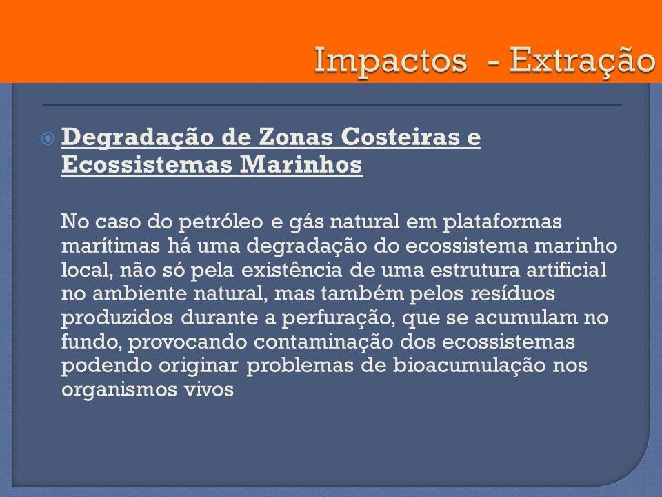 Degradação de Zonas Costeiras e Ecossistemas Marinhos No caso do petróleo e gás natural em plataformas marítimas há uma degradação do ecossistema mari
