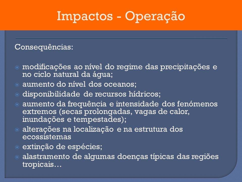 Consequências: modificações ao nível do regime das precipitações e no ciclo natural da água; aumento do nível dos oceanos; disponibilidade de recursos