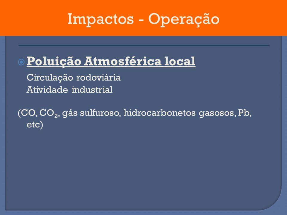 Poluição Atmosférica local Circulação rodoviária Atividade industrial (CO, CO 2, gás sulfuroso, hidrocarbonetos gasosos, Pb, etc) Impactos - Operação