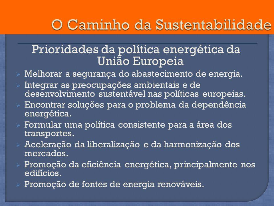 Prioridades da política energética da União Europeia Melhorar a segurança do abastecimento de energia. Integrar as preocupações ambientais e de desenv