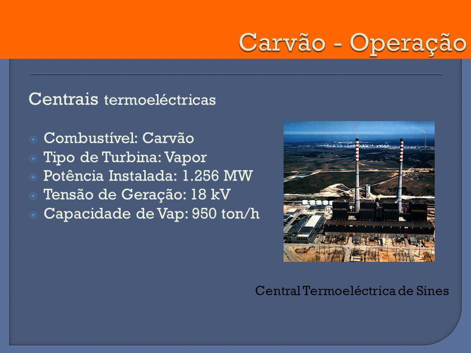 Centrais termoeléctricas Combustível: Carvão Tipo de Turbina: Vapor Potência Instalada: 1.256 MW Tensão de Geração: 18 kV Capacidade de Vap: 950 ton/h