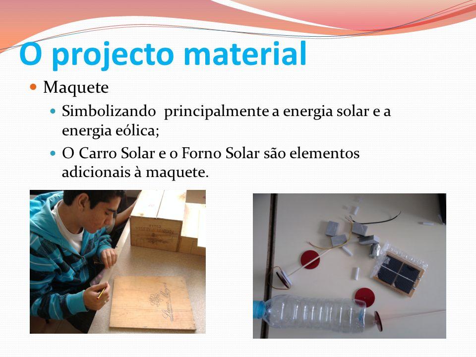 O projecto material Maquete Simbolizando principalmente a energia solar e a energia eólica; O Carro Solar e o Forno Solar são elementos adicionais à m