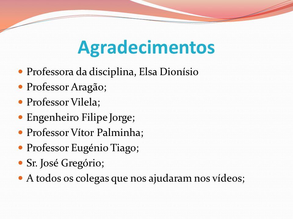 Agradecimentos Professora da disciplina, Elsa Dionísio Professor Aragão; Professor Vilela; Engenheiro Filipe Jorge; Professor Vítor Palminha; Professo