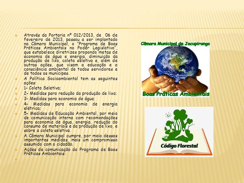 Através da Portaria nº 012/2013, de 06 de fevereiro de 2013, passou a ser implantado na Câmara Municipal, o Programa de Boas Práticas Ambientais no Po