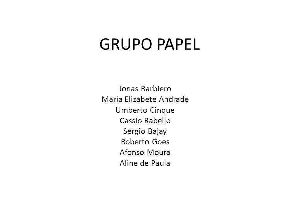 GRUPO PAPEL Jonas Barbiero Maria Elizabete Andrade Umberto Cinque Cassio Rabello Sergio Bajay Roberto Goes Afonso Moura Aline de Paula