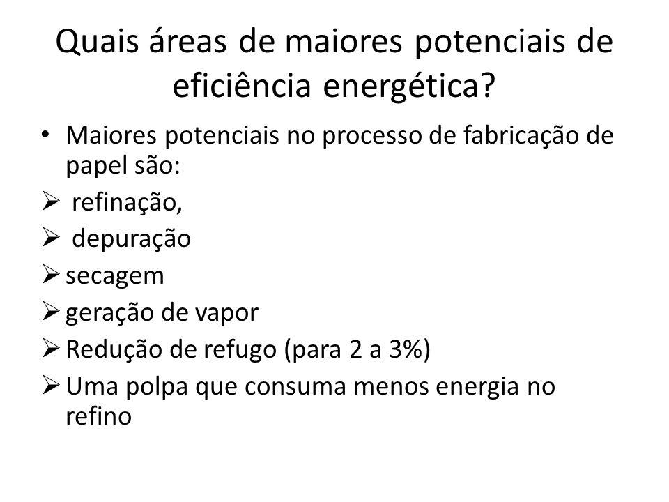 Quais áreas de maiores potenciais de eficiência energética? Maiores potenciais no processo de fabricação de papel são: refinação, depuração secagem ge