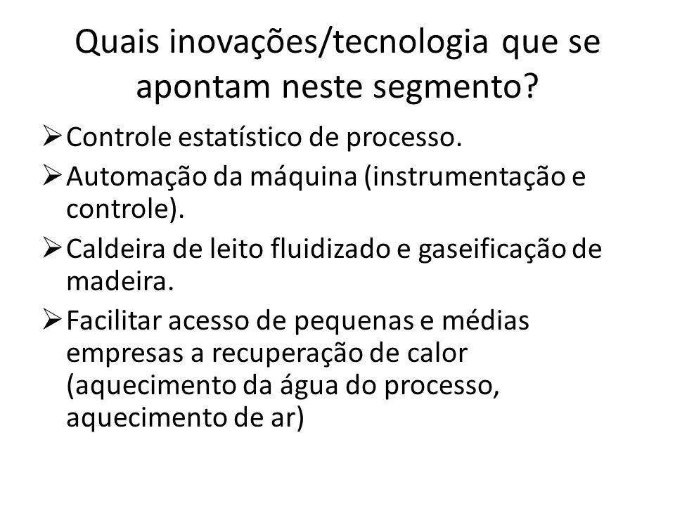 Quais inovações/tecnologia que se apontam neste segmento? Controle estatístico de processo. Automação da máquina (instrumentação e controle). Caldeira
