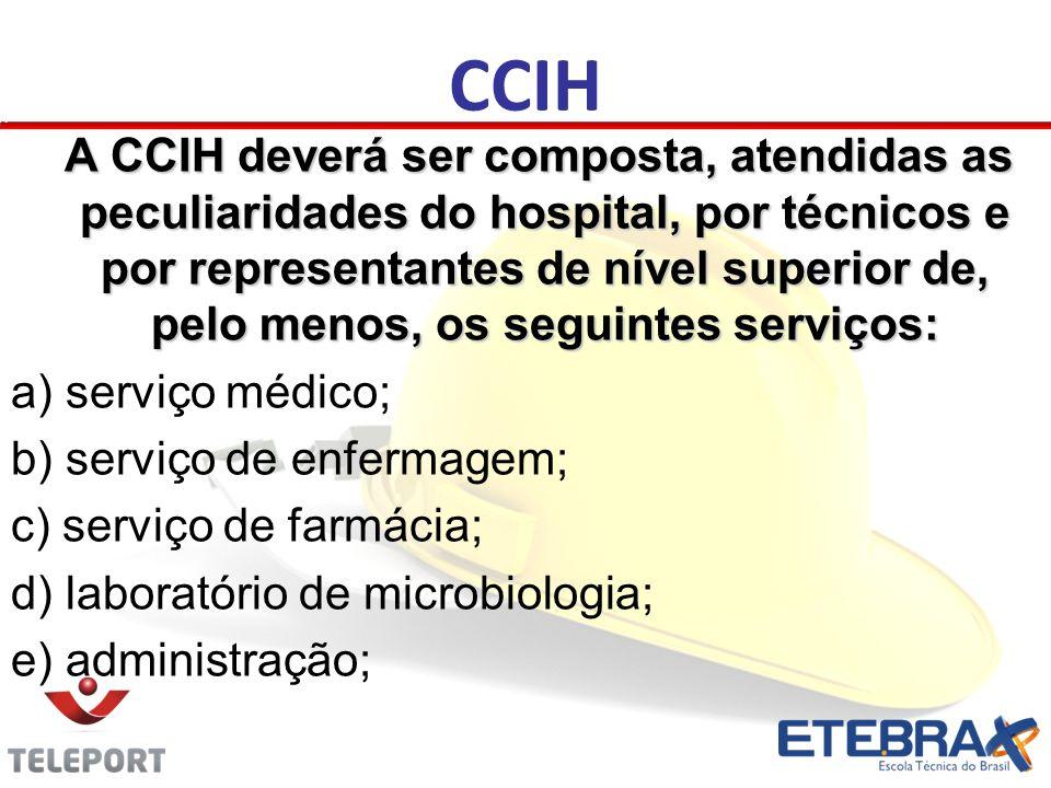 CCIH A CCIH deverá ser composta, atendidas as peculiaridades do hospital, por técnicos e por representantes de nível superior de, pelo menos, os segui