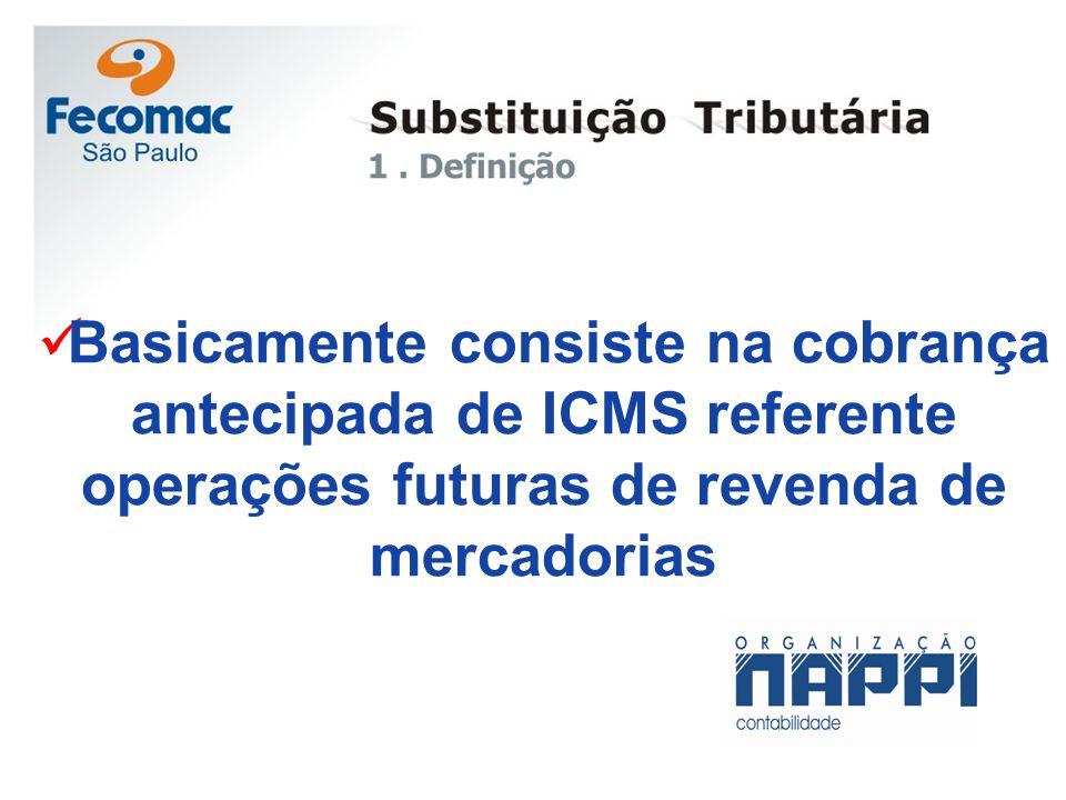 Basicamente consiste na cobrança antecipada de ICMS referente operações futuras de revenda de mercadorias