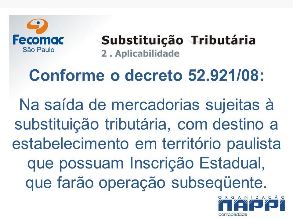 Conforme o decreto 52.921/08: Na saída de mercadorias sujeitas à substituição tributária, com destino a estabelecimento em território paulista que pos