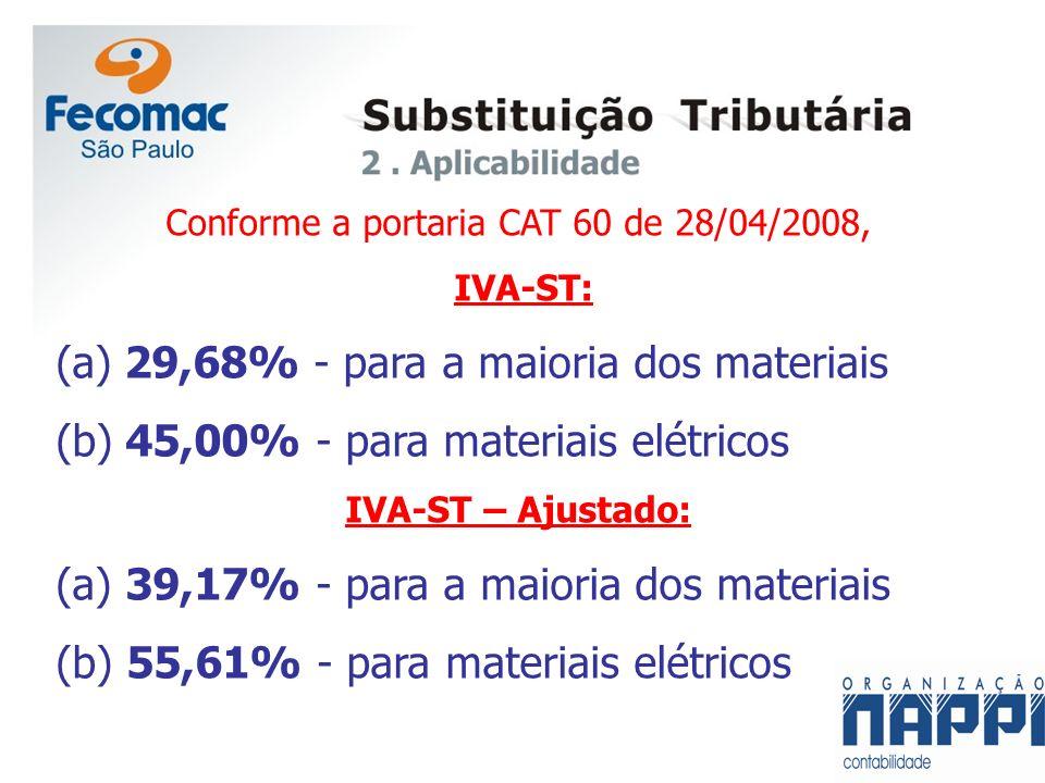 Conforme a portaria CAT 60 de 28/04/2008, IVA-ST: (a) 29,68% - para a maioria dos materiais (b) 45,00% - para materiais elétricos IVA-ST – Ajustado: (