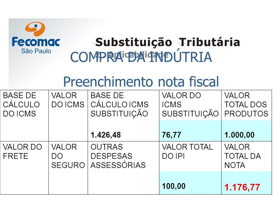 COMPRA DA INDÚTRIA Preenchimento nota fiscal BASE DE CÁLCULO DO ICMS VALOR DO ICMS BASE DE CÁLCULO ICMS SUBSTITUIÇÃO VALOR DO ICMS SUBSTITUIÇÃO VALOR