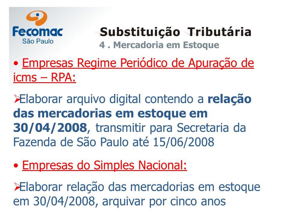 Empresas Regime Periódico de Apuração de icms – RPA: Elaborar arquivo digital contendo a relação das mercadorias em estoque em 30/04/2008, transmitir