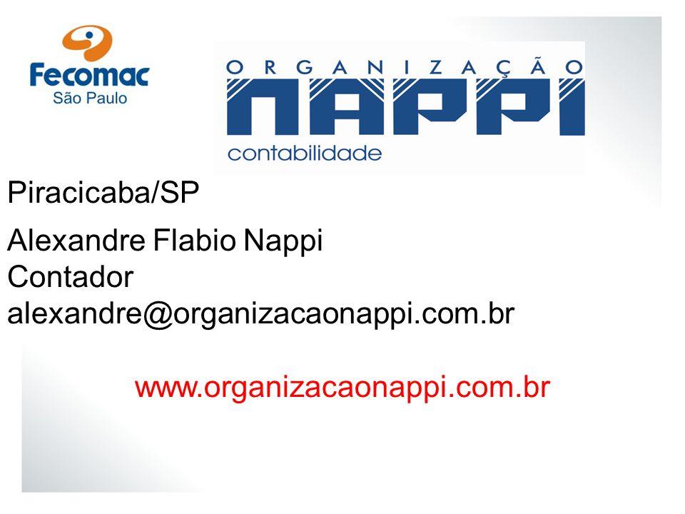 Piracicaba/SP Alexandre Flabio Nappi Contador alexandre@organizacaonappi.com.br www.organizacaonappi.com.br