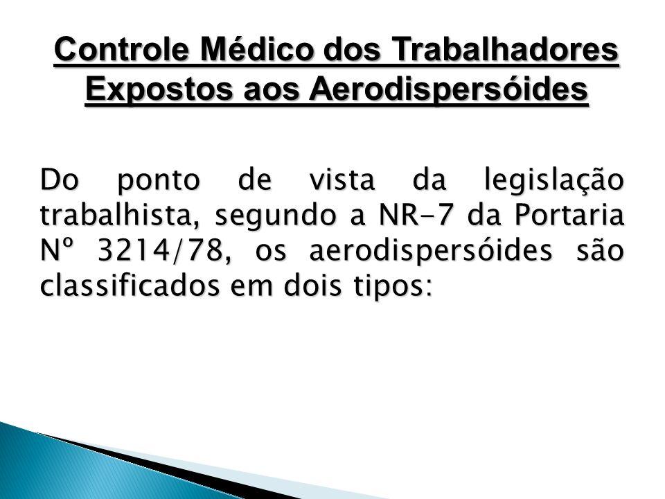 Do ponto de vista da legislação trabalhista, segundo a NR-7 da Portaria Nº 3214/78, os aerodispersóides são classificados em dois tipos: Controle Médi